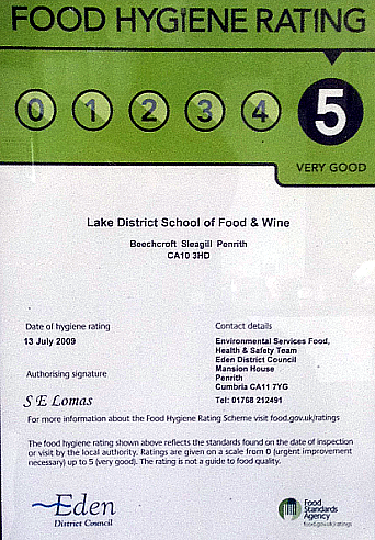 Food Hygiene Certification score five out of five